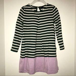 Baby Gap dress, dk green/white stripe & lavender